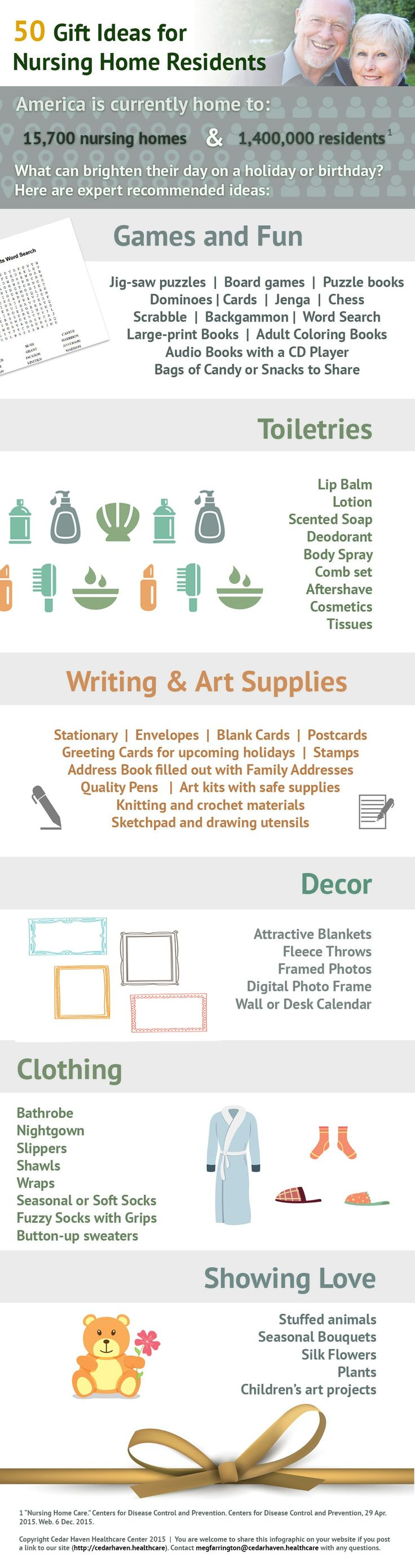 Here are 50 gift ideas for nursing home residents. These ideas are expert picked to make them smile! infographic