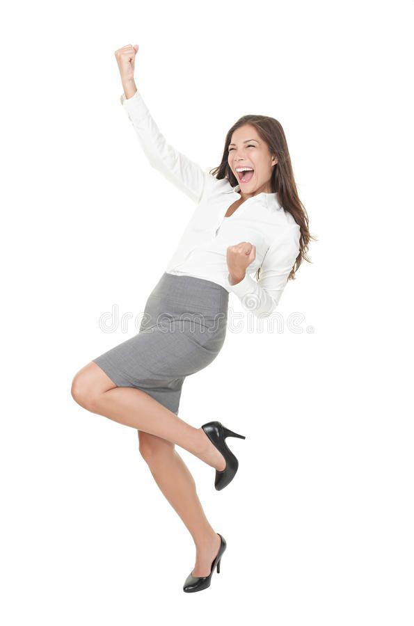 Young Successful Businesswoman Celebrating Success Successful