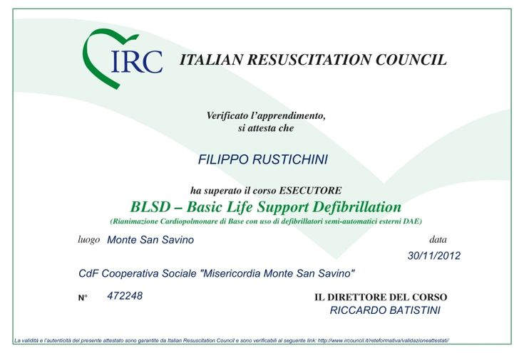 "Con soddisfazione annunciamo che i Dottori Romolini, Rustichini e Salmi hanno brillantemente superato il corso ""BLSD - Basic Life Support Defibrillation"" con qualifica di ""Esecutore"" per l'utilizzo del defibrillatore. / Doctors Romolini, Rustichini and Salmi have successfully passed the course ""BLSD - Basic Life Support Defibrillation"" with the qualification of ""Executor"" for the use of the defibrillator."