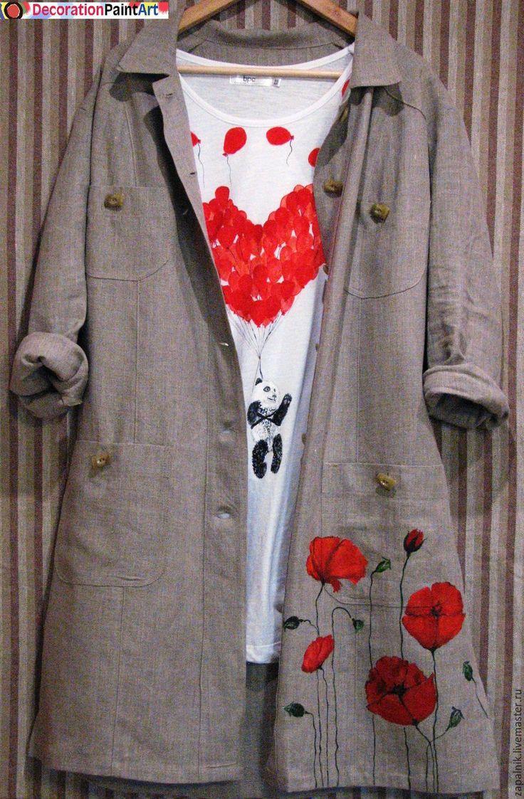 Купить Льняное полупальто с росписью маки - полупальто льняное, льняное полупальто, пальто льняное