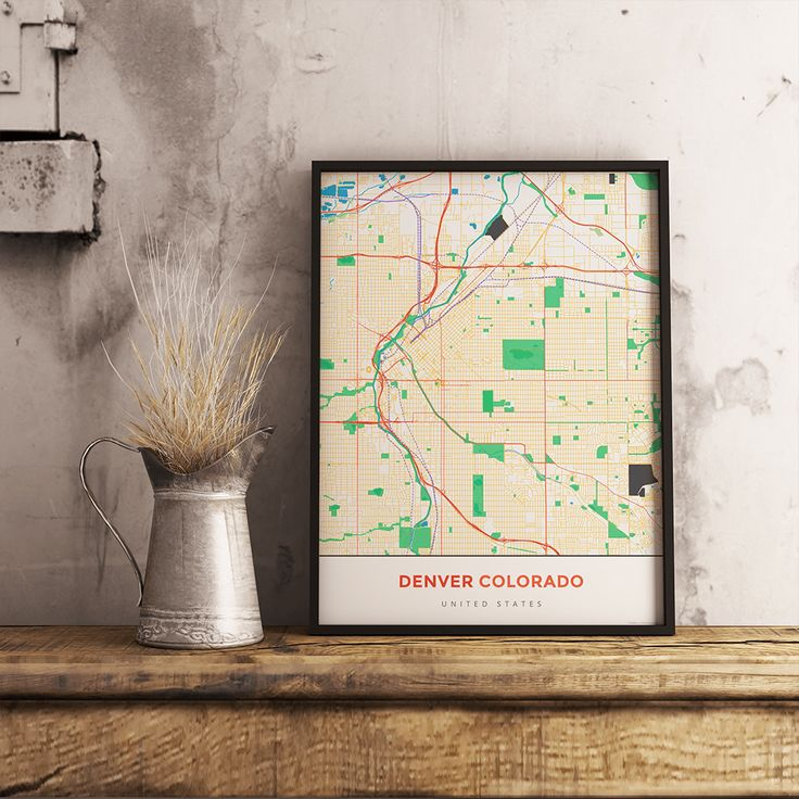 San Francisco Air Quality Map%0A Premium Map Poster of Denver Colorado  Simple Colorful  Unframed  Denver  Map Art