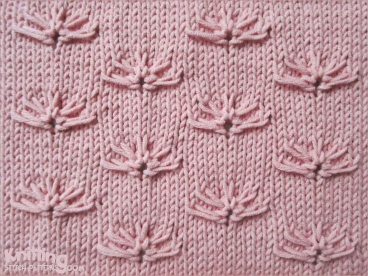 Little Cornflower on a stockinette background - http://www.knittingstitchpatterns.com/2014/11/cornflowers.html
