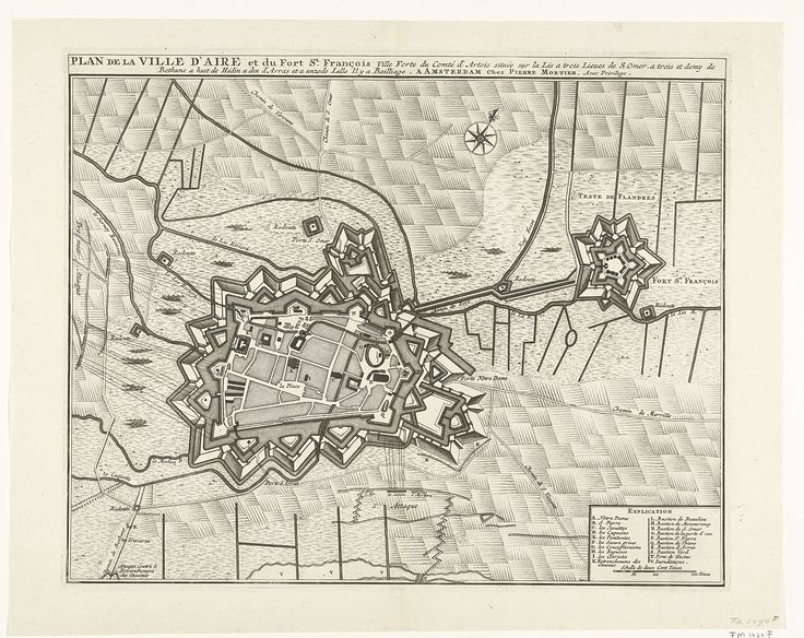 Jacobus Deur | Beleg van Aire, 1710, Jacobus Deur, Johannes Deur, Pieter Mortier (I), 1710 | Plattegrond van Aire, belegerd en ingenomen door de Geallieerden op 8 november 1710. Rechtsonder een cartouche met de legenda A-V in het Frans.