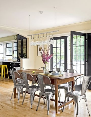tolix chairs for kitchen breakfast table