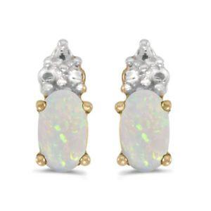 14k-Gelbgold-Oval-Opal-Ohrringe