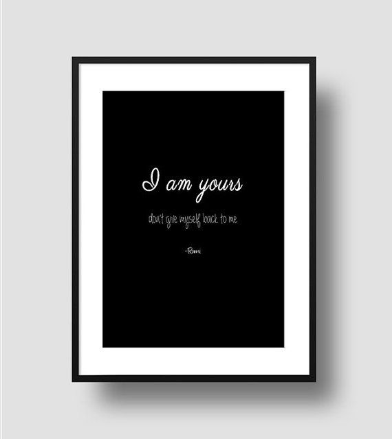 Rumi quote print diy wall art black and white by EdenDezigns