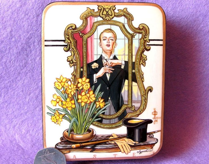 Details about Russian LACQUER Box EASTER 1936 Blond man GAY INTEREST J.C…