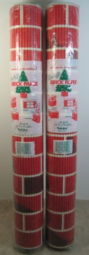 vintage rolls christmas brick paper corrugated cardboard fireplace chimney
