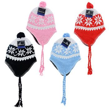 Keep your head and ears warm and cozy with classic Peruvian hats! These polyester/cotton blend hats have a chin cord that can be tied to keep the ear flaps down in windy weather. Each knit hat feature