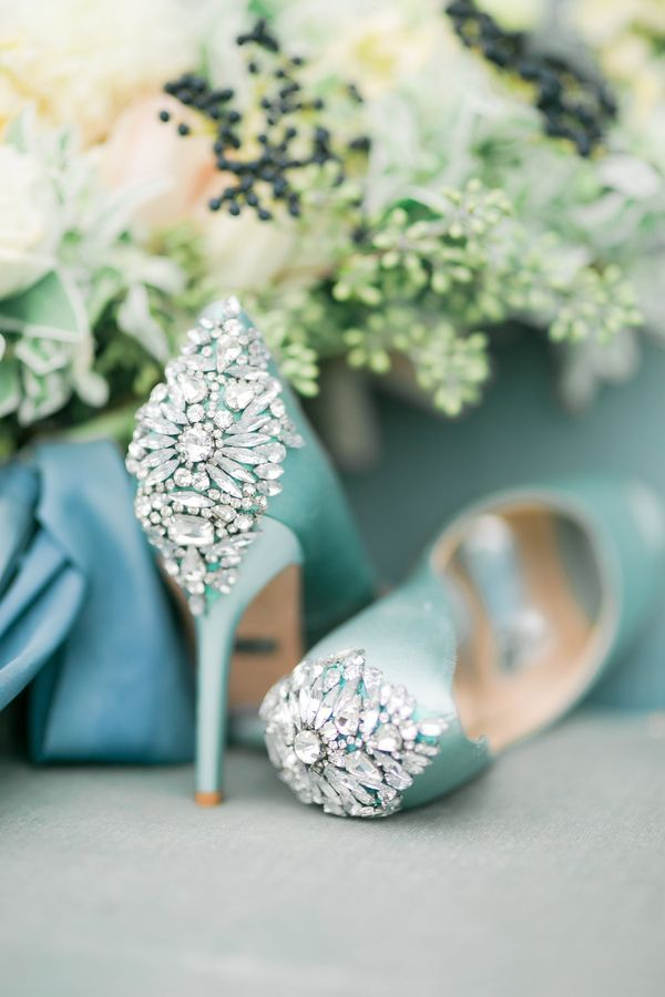 Vintage Meets Modern in this Shoot Full of Dreamy Blues | Turquoise blue embellished bridal heels