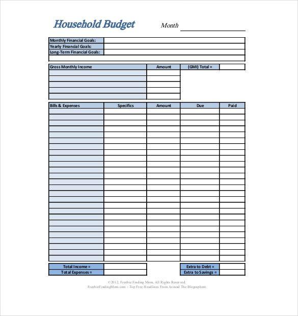 home budgets free