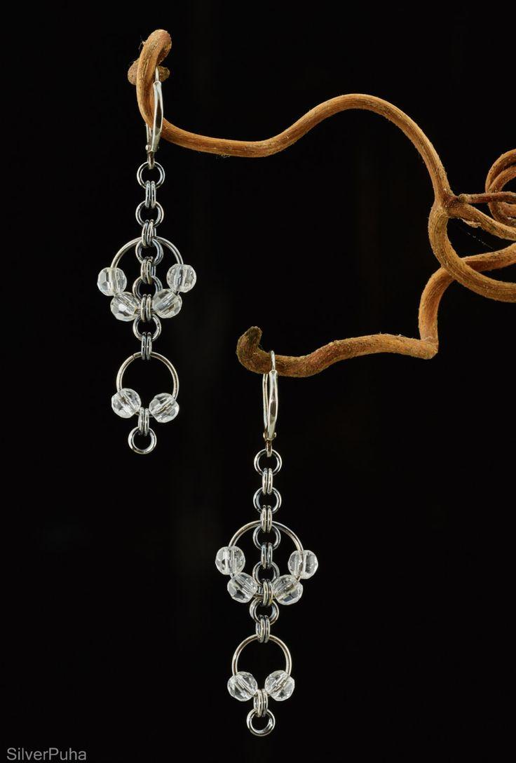 Rock crystal cable-cross silver earrings by SilverPuha on Etsy