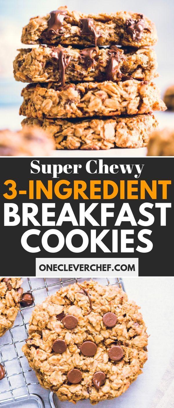 3 Ingredient Breakfast Cookies Recipe Breakfast Cookies Healthy Cookies Breakfast