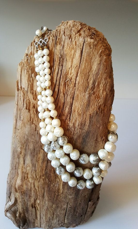 Vintage Three Strand White and Gold Faux Baroque by RetroEnvy21
