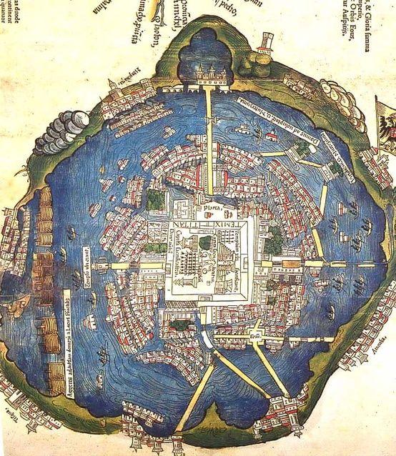 Mapa de la antigua Tenochtitlan en lo que hoy es Ciudad de México c. 1524
