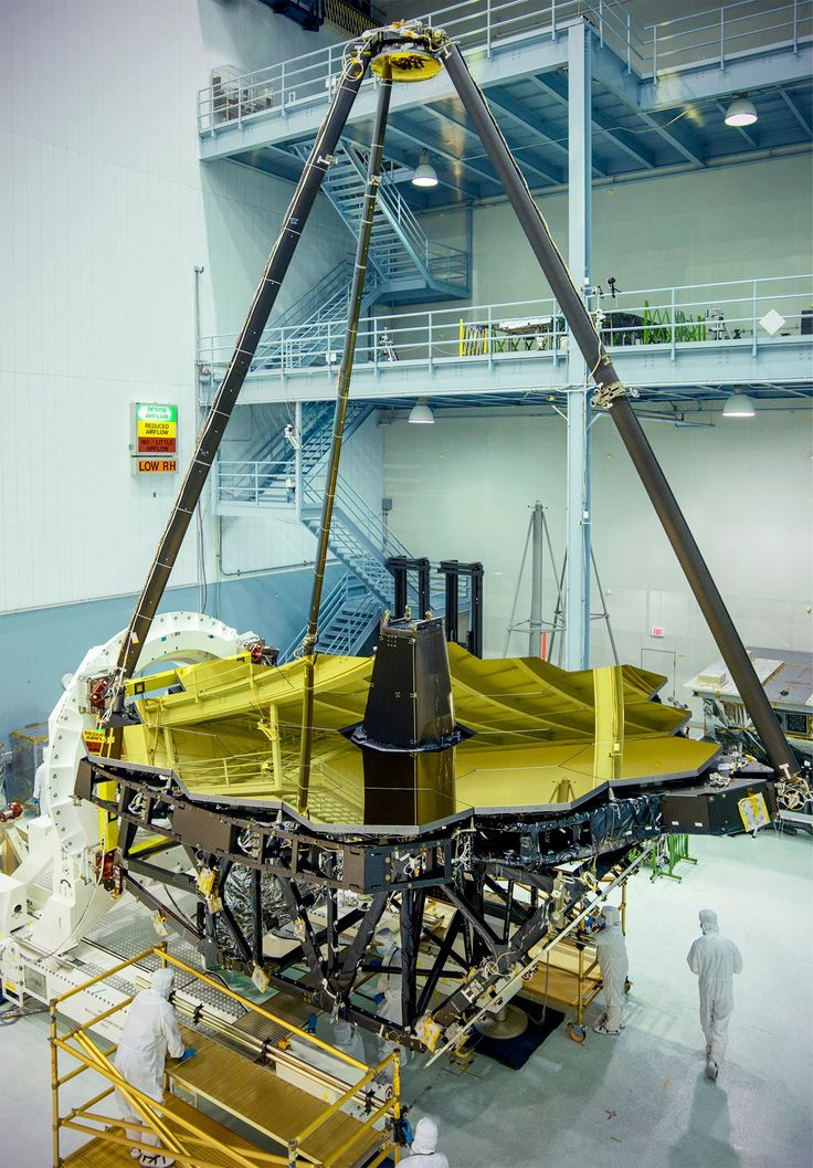 NASA engineers recently unveiled the giant golden mirror of NASA's James Webb Space Telescope as part of the integration and testing of the infrared telescope.