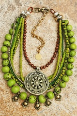 Tibetan-Inspired Green, Copper, Silver Shield Pendant Fringe Necklace  Himalaya  Mixed Media Multi-Strand Green Tagua Nut, Indonesian Glass, Bone, African Copper and Silver, Afghani Charms and Tibetan Shield Pendant Necklace