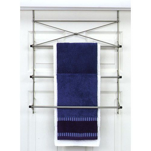Bath Towel Holder Rack Organizer Drying Over the Door Metal Pearl Nickel Finish #BathTowelHolderOrganizer