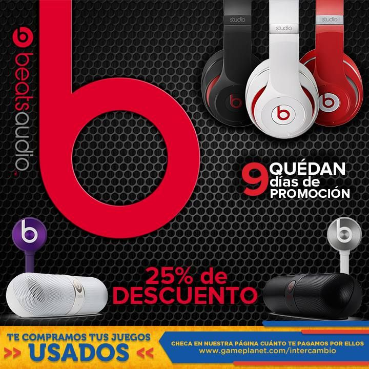 Gameplanet: Audífonos Beats Studio con 25% de DESCUENTO Gameplanet: ¿Qué esperas para escuchar música en los audífonos más famosos del mundo? Aprovecha esta promoción Audífonos Beats Studio con 25% de DESCUENTO. Visita la página web de Gameplanet y checa su disponibilidad en tienda Click Aquí. Es... -> http://www.cuponofertas.com.mx/oferta/gameplanet-audifonos-beats-studio-con-25-de-descuento/