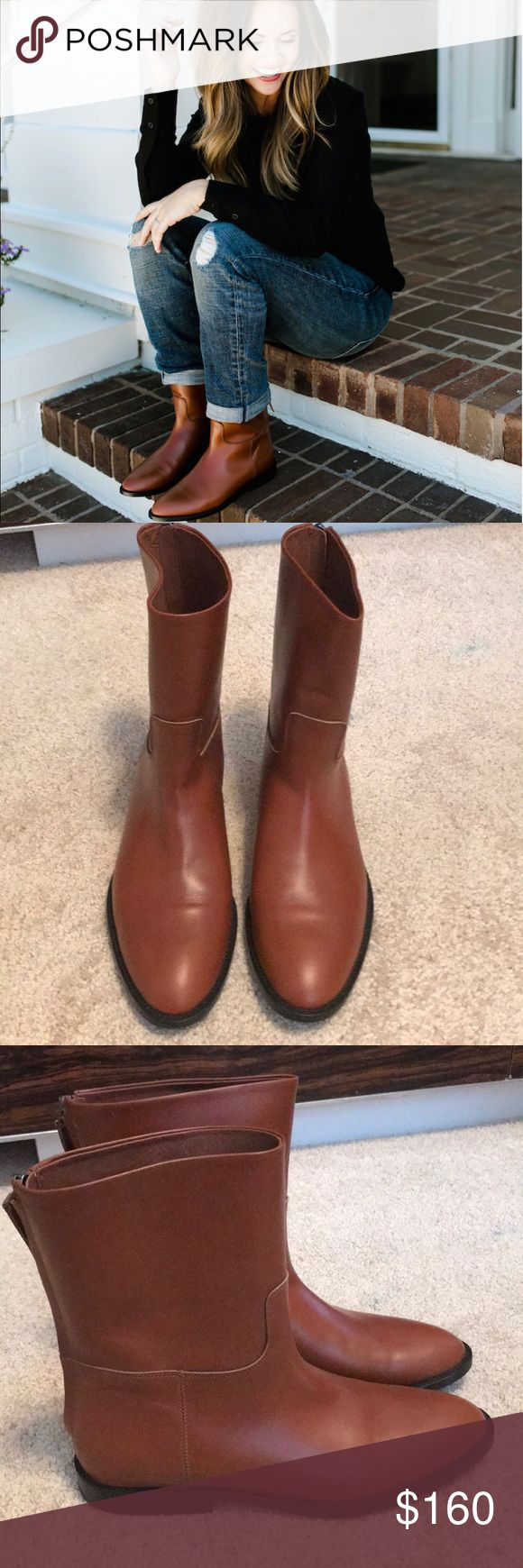 Leather brown flat ankle boots UE 40 Beautiful leather boots. Made in Italy. Great condition. Jenni Kayne Shoes Ankle Boots & Booties