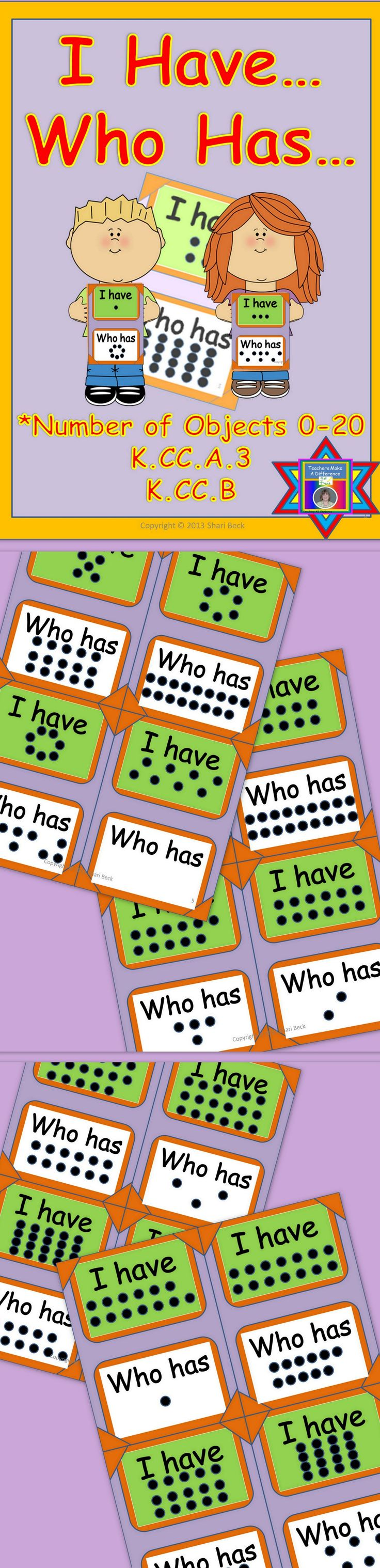 "Do you need a resource where your students have to count objects and associate a number word with the number of objects? Click here for a fun ""I Have...Who Has"": Counting Objects to Say Number Name Game incorporating the CCSS K.CC.A.3, K.CC.B."