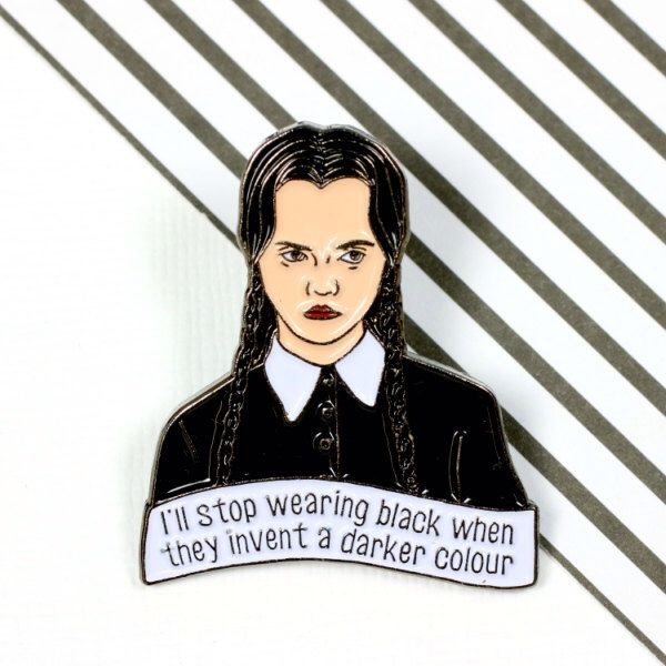 Wednesday Addams Enamel Pin with clutch back // lapel pins, halloween, spooky // EP159 by Punkypins on Etsy https://www.etsy.com/listing/470315794/wednesday-addams-enamel-pin-with-clutch