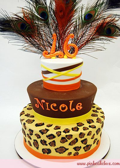 Flared Sweet 16 Cheetah Print Cake by Pink Cake Box in Denville, NJ.  More photos at http://blog.pinkcakebox.com/flared-sweet-16-cheetah-print-cake-2010-10-06.htm  #cakes