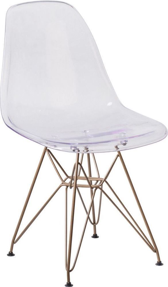 Mid Century Modern Eames Style Clear Plastic Dining Chairs With