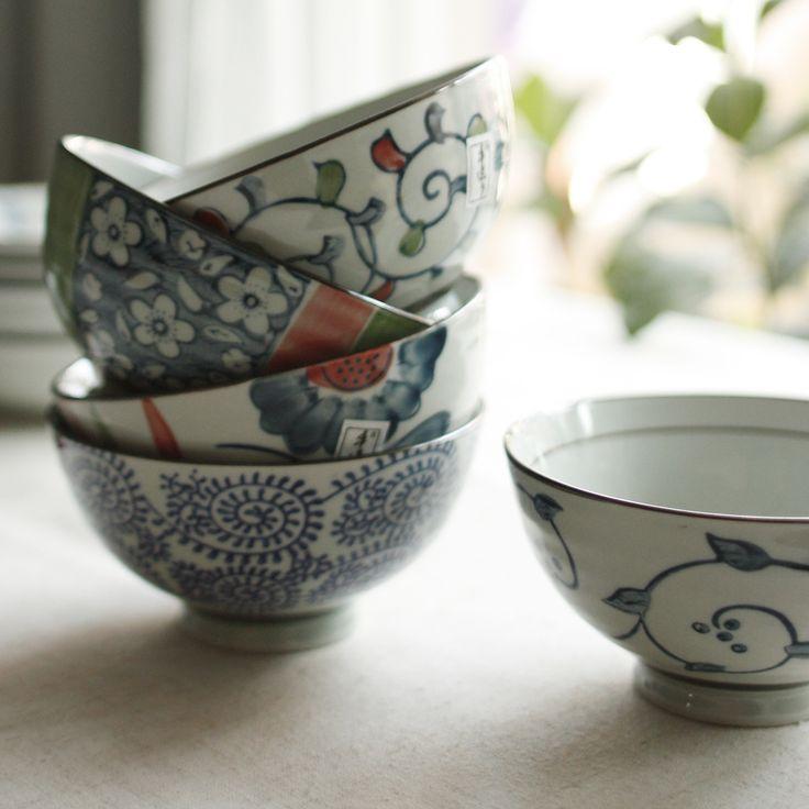 Обеденный стол пейзаж ручная роспись керамической чаши риса метров круглого риса чаши керамическая посуда подарочная коробка загружен подарок - Taobao