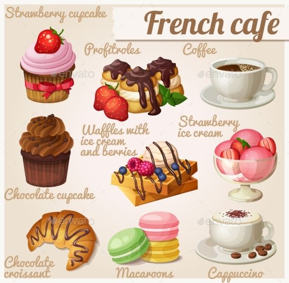 Set Of Food Icons French Cafe Illustration Food Icons Chocolate Croissant Cafe Food