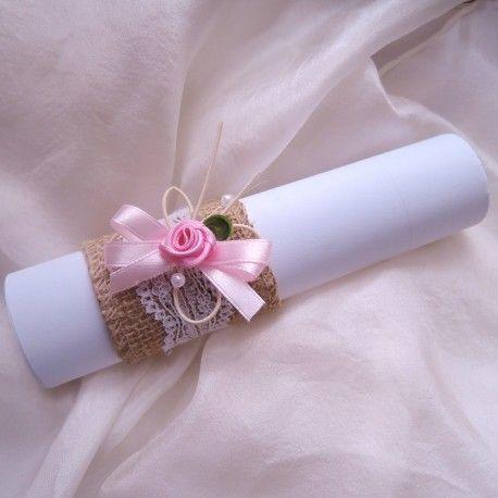 svatební oznámení v ruličce - juta s motýlkem