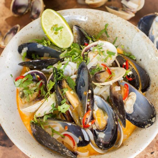 Tom Yum Soup with Mussels, Clams and Noodles by Nadia Lim | NadiaLim.com