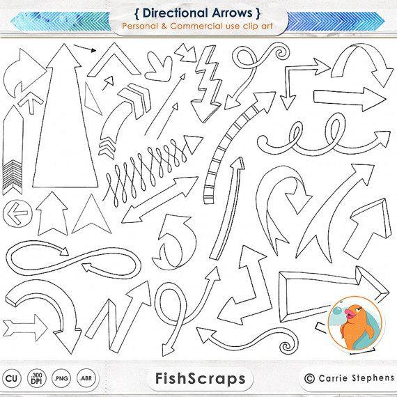 Arrow ClipArt, Hand Drawn Arrow Line Art & Silhouettes, Instant Download Arrow Doodles, Arrow Clip Art Illustrations, Directional Arrows