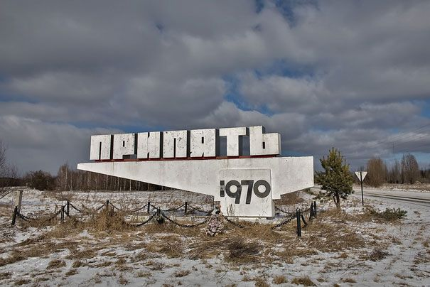 """The sign on the road to Pripyat, the town where the workers of the nuclear plant lived."""