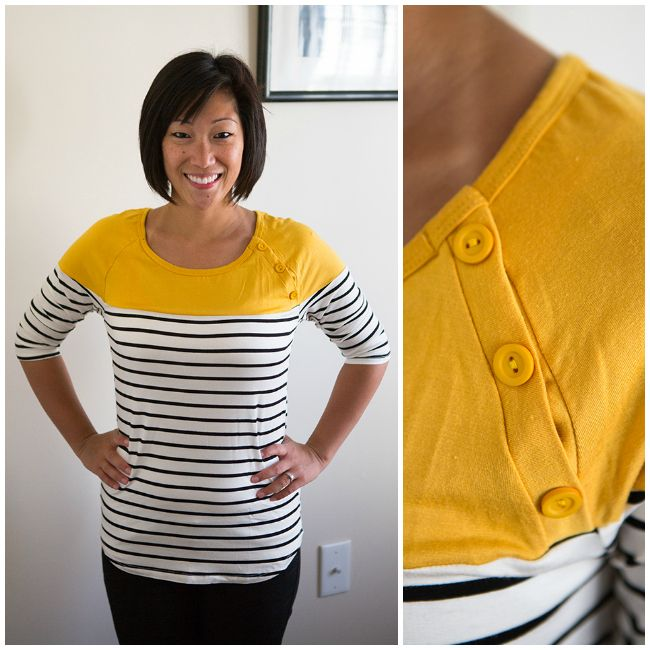 """I would totally wear this top!  Love the yellow at the top!  It's the perfect """"pop"""" of color!  Would love it if the top was emerald green too!"""