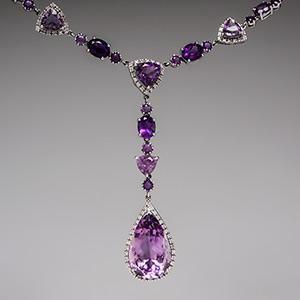 Amethyst Necklace w/ Diamonds in 14K White Gold - EraGem