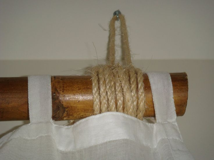 bamboo pole w rope and sheer curtains