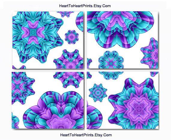 Teal Purple Wall Decor Floral Mint Dahlia Burst Wall Art Print Bedroom Dining Living Room Kitchen