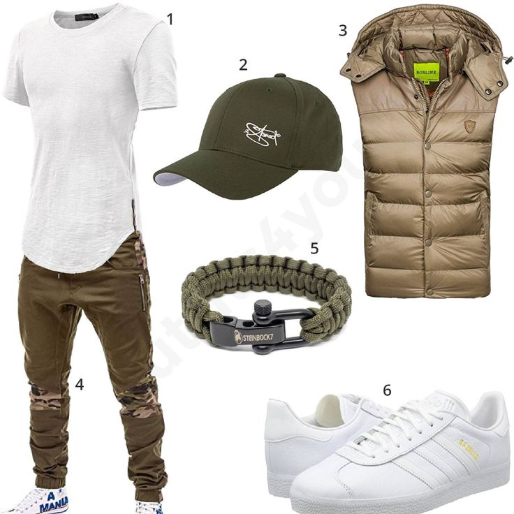 Lässiges Männer-Outfit mit weißem T-Shirt, olivfarbener Cap, Steinbock7 Paracord, cooler JoggJeans, Bolf Weste, weiße Adidas Sneaker.