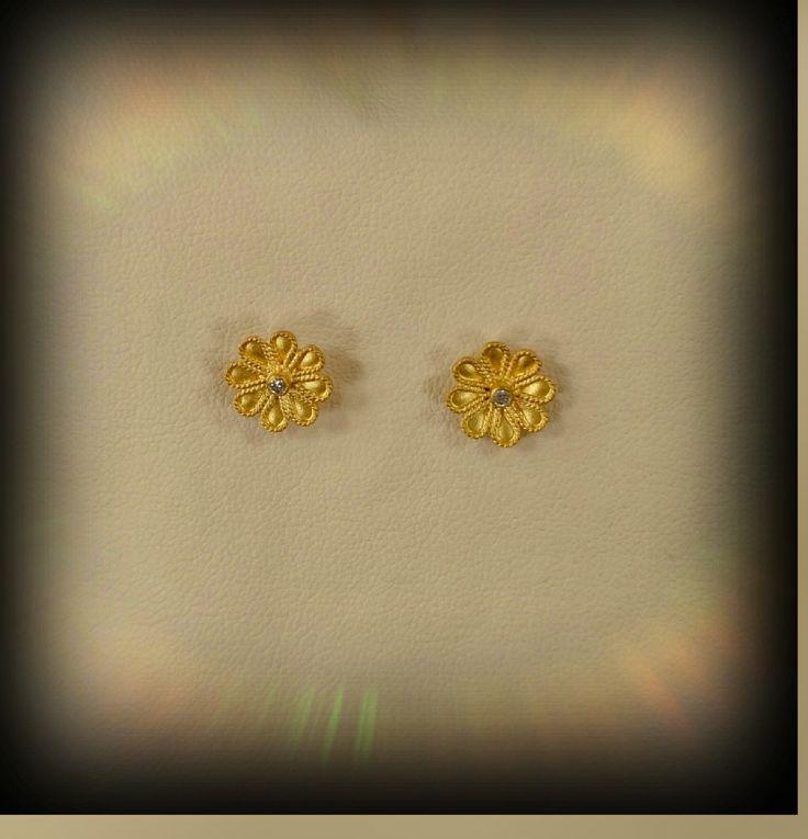 gold handmade earrings with precious stones 18k