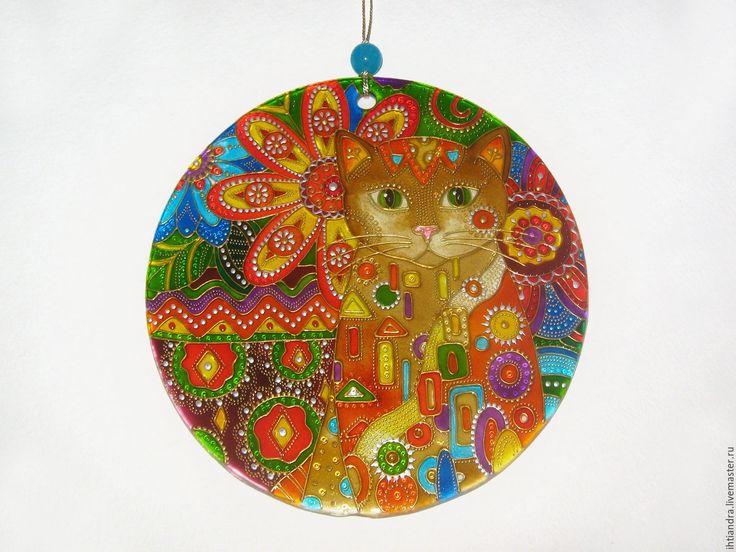Купить Ловец солнца Кот моей мечты Витражная роспись по стеклу - эксклюзивный подарок