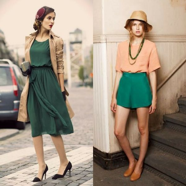 Olive color is taking the runway with a storm. Pair the color with beige and get the perfect evening date outfit.