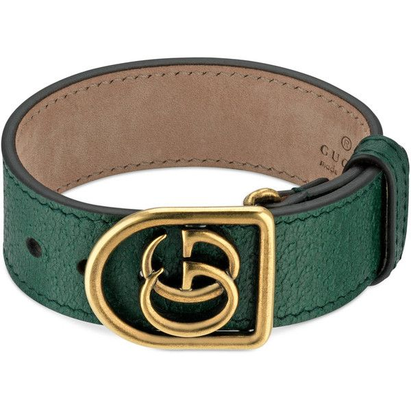 Gucci Bracelet In Leather With Double G ($400) ❤ liked on Polyvore featuring jewelry, bracelets, green, leather jewelry, green jewellery, leather bangles, gucci bangle and gucci