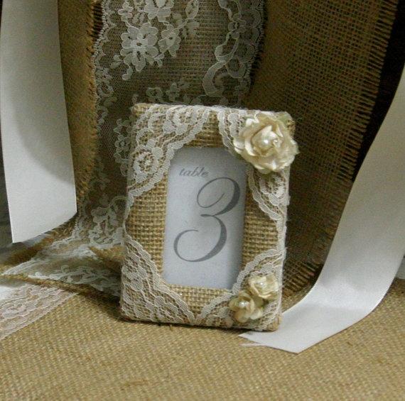 Shabby Chic Wedding Table Decorations: Burlap Table Number Frame, Burlap Picture Frames, Wedding