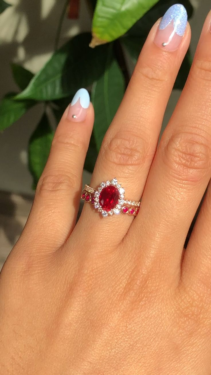 Ruby Bridal Ring Set by La More Design