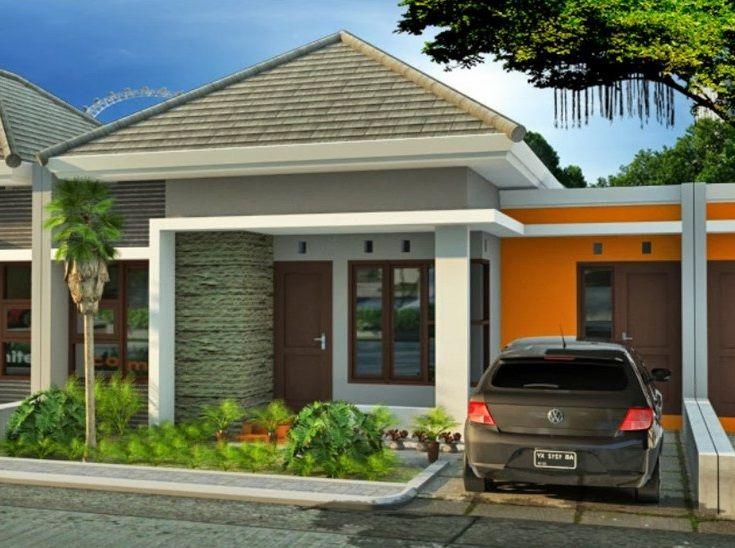 contoh gambar desain rumah type 45 tampak depan fasade