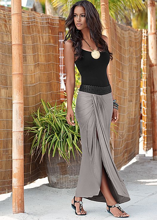 On or off the beach you will look and feel effortlessly chic! Venus braided waistband maxi paired with embellished stretch sandal and hammered metal necklace.
