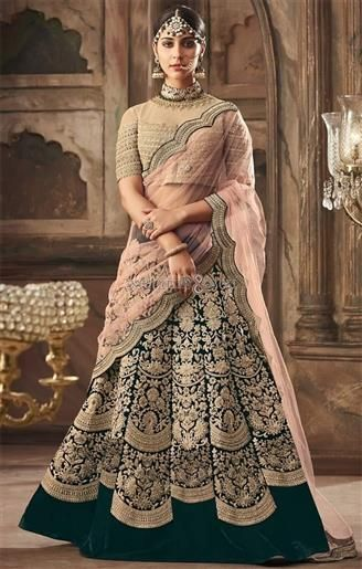 e4fdfaa4d71a3 Heavy Worked Green Velvet Lehenga Choli N Pink Net Half Saree Set in ...