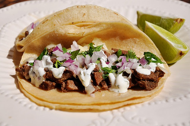 Venison Tacos with Creamy Cilantro-Lime Sauce. You can sub beef steak for the venison.