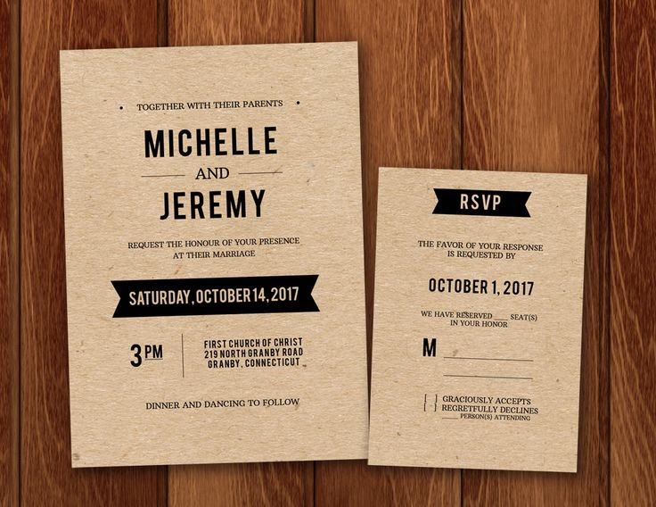 Free PDF Wedding Invitation And RSVP Template For DIY Rustic Kraft Paper  Invitations.